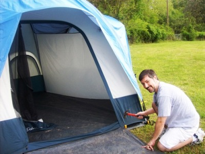 Briam setting up a tent