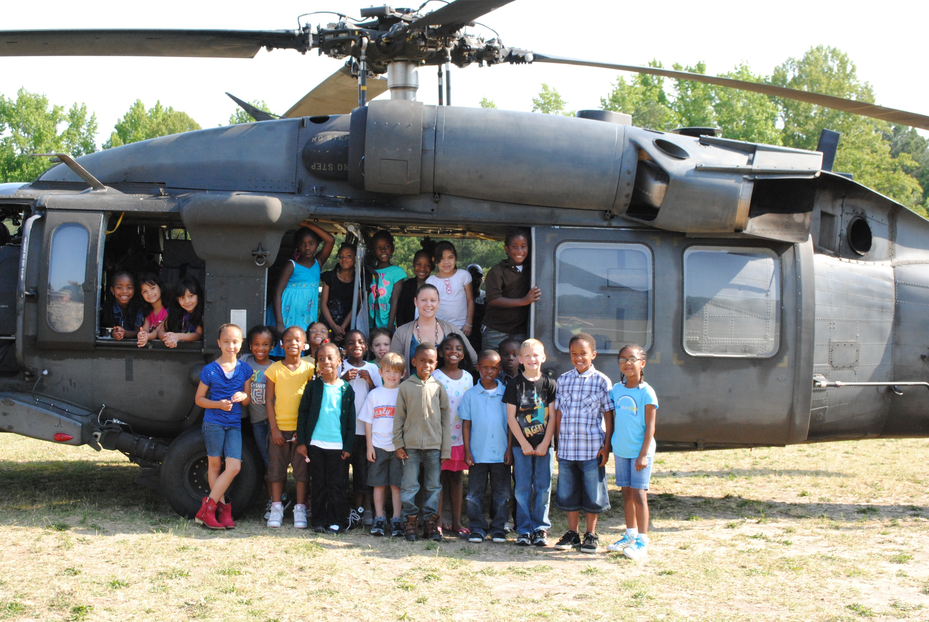 Sophia and her class with the Helicopter